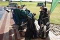 The golf bags were all lined up ready for action